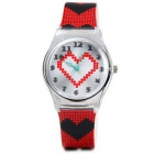 Heart-Shaped Silicone Kids Quartz Analog Watch - Black + Red (1*SR626)