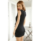 Deep V Sexy Slim Pleated Irregular Sleeveless Dress - Black (M)
