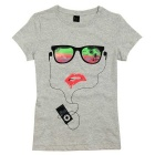 Women's Simple Cool Pattern Cotton Short Sleeve T-Shirt - Grey