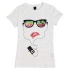 Women's Simple Cool Pattern Cotton Short Sleeve T-Shirt - White
