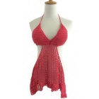 Sexy Hand-Woven Cotton Hollow Halter Dress Lingerie - Watermelon Red