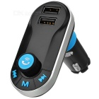 "1.1"" LCD Bluetooth V2.1 Handsfree Car Kit MP3 Player / FM Transmitter w/ Dual USB - Black + Blue"