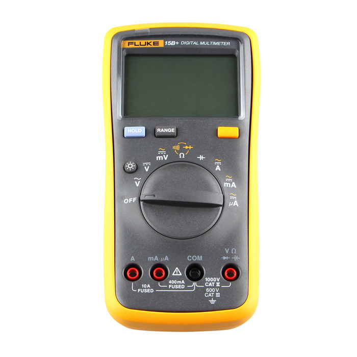 FLUKE 15B+ Auto Digital Multimeter - Yellow + Black (2*AA)