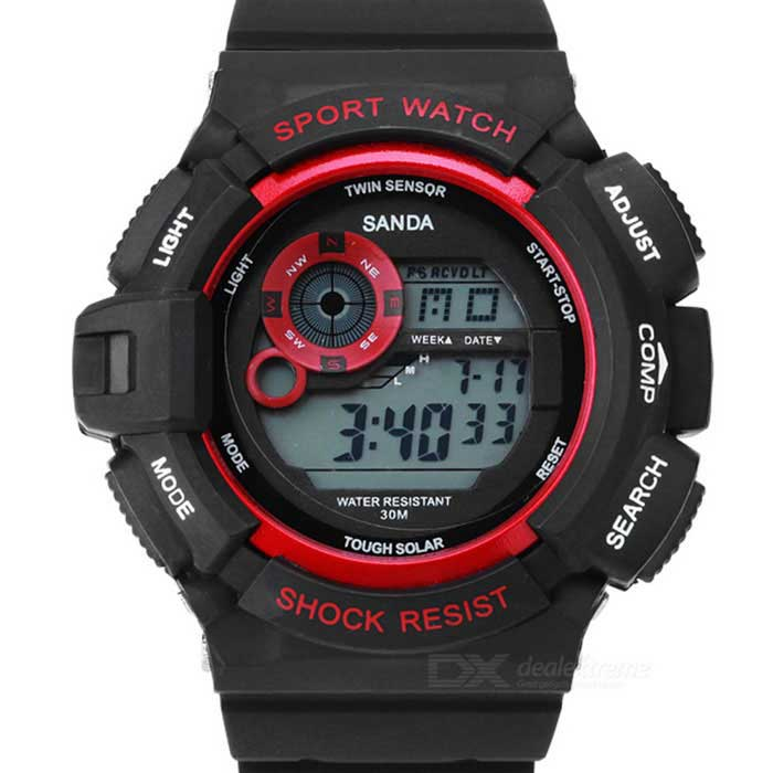 SANDA Waterproof Anti-Shock Digital Watch - Black + Red (1* 2016)