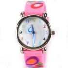 Cartoon Bubbles Design Silicone Band Analog Quartz Watch for Children - Pink + Multi-Color (1xSR626)