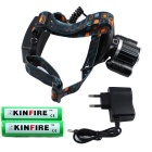 KINFIRE T6 4-Mode cool blanco LED faro w / EU enchufe cargador - negro