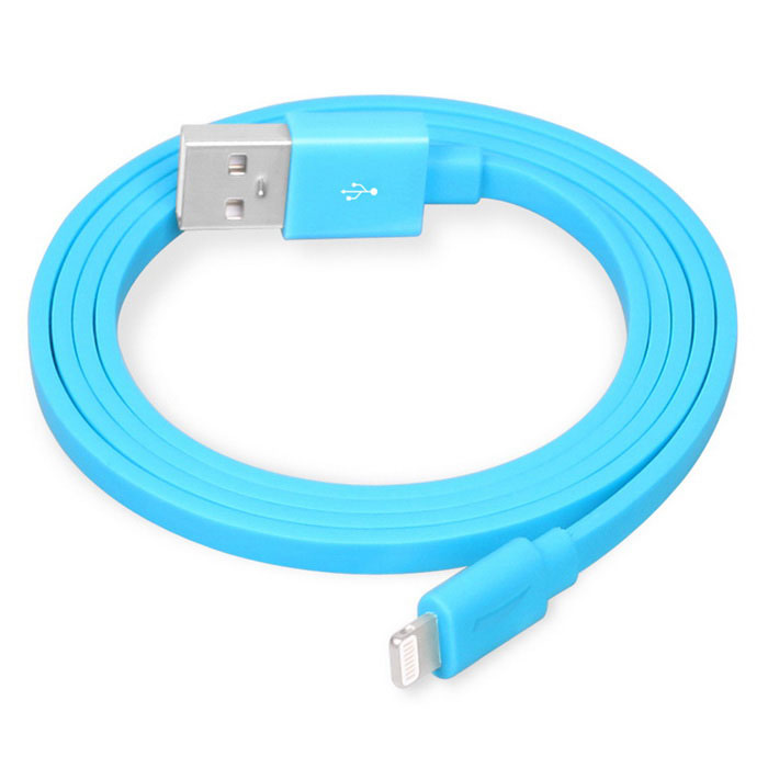 Yellowknife 8-Pin Flat Charging Cable for IPHONE 6 / IPAD - Blue (1m)