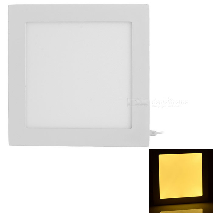 15W Warm White LED Square Ceiling Light 75-SMD w/ LED Driver - White