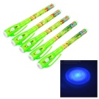 Cute 1mm Writing Hidden Pens w/ Ultraviolet Money Detector Light - Green + White (5 PCS / 3 x AG3)