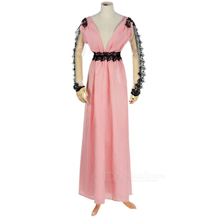 Women's Sexy V Neck Long Sleeves Maxi Evening Dress - Pink + Black (M)