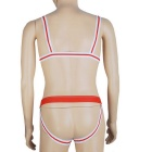 Men's European Style Sexy One-Piece Mankini Underwear - White + Red