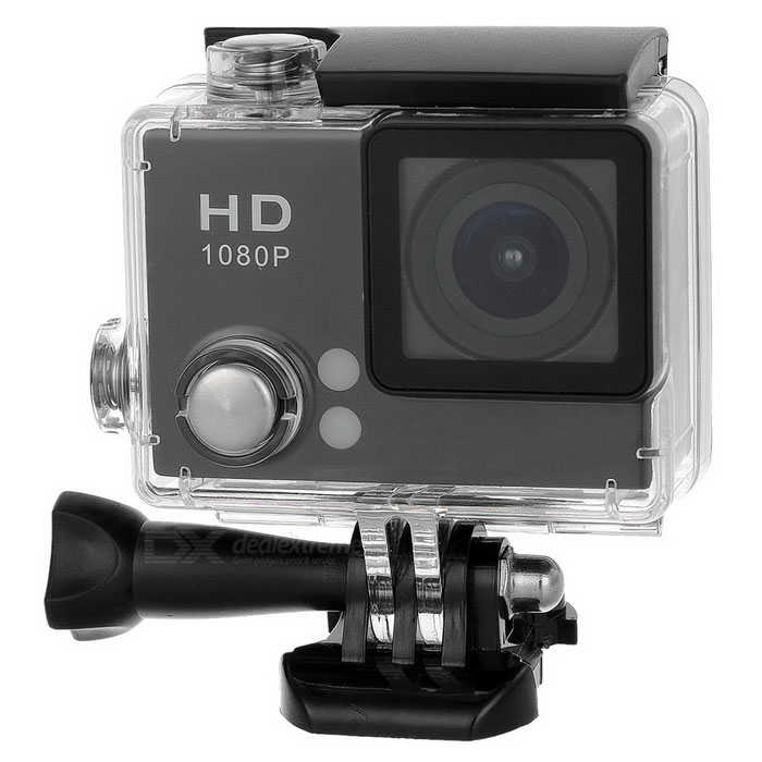 "S2 2.0"" Screen 2.0MP 140° Wide Angle Waterproof Sports Camera - Black"