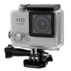 "S2 HD 2.0"" Screen 2.0MP 140° Wide Angle Waterproof Sports Camera - Silver + Translucent Black"