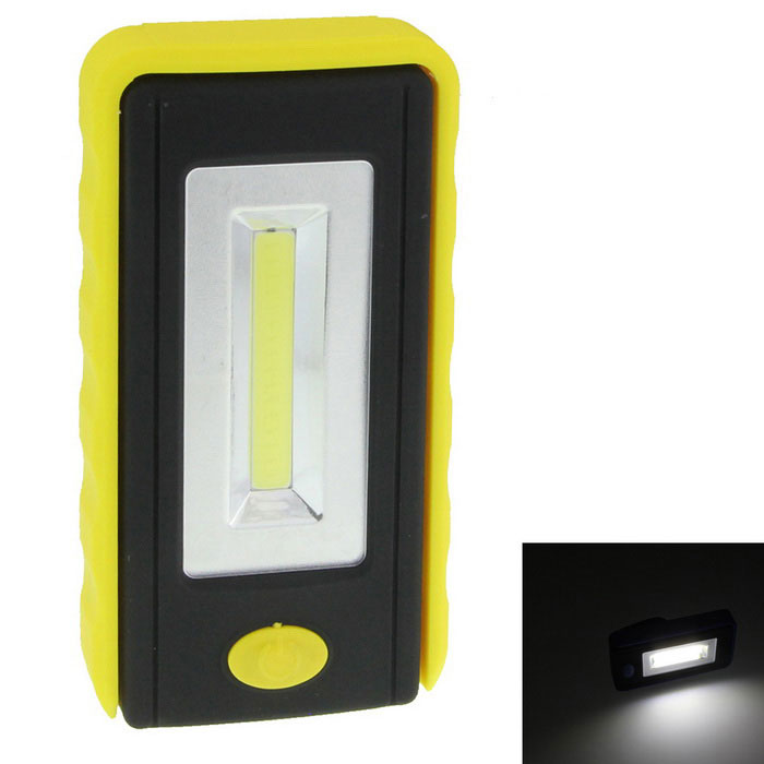 6W 180lm 6500K White COB LED Tool Light Lamp - Yellow + BlackDecorative Lights / Strip<br>Color BINYellow + BlackModelN/AQuantity1 DX.PCM.Model.AttributeModel.UnitMaterialABSForm ColorYellow + Black + WhiteEmitter TypeLEDChip BrandOthers,N/AChip TypeCOBTotal Emitters1Power6WColor Temperature6500 DX.PCM.Model.AttributeModel.UnitTheoretical Lumens400 DX.PCM.Model.AttributeModel.UnitActual Lumens180 DX.PCM.Model.AttributeModel.UnitRate Voltage3.6VWaterproof FunctionNoConnector TypeOthers,N/AOther FeaturesNeeds 3 x 1.2V AAA (not included)ApplicationOthers,Outdoors, lighting, campingPacking List1 x LED light<br>