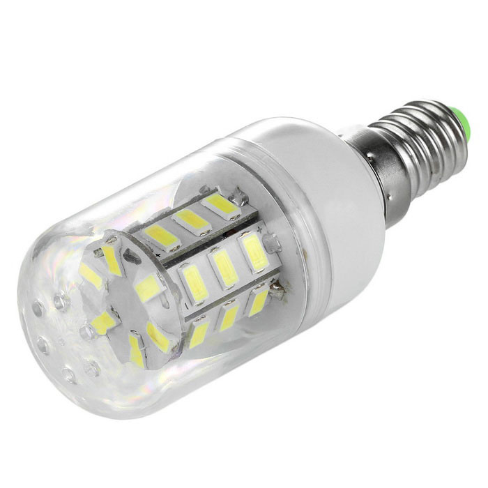 E14 3.5W LED Corn Lamp Cold White Light 400lm 6500K 24-SMD - WhiteE14<br>Form  ColorWhiteColor BINCold WhiteMaterialABS + aluminum alloyQuantity1 DX.PCM.Model.AttributeModel.UnitPowerOthers,3.5WRated VoltageAC 220-240 DX.PCM.Model.AttributeModel.UnitConnector TypeE14Emitter TypeOthers,5730 SMD LEDTotal Emitters24Theoretical Lumens400 DX.PCM.Model.AttributeModel.UnitActual Lumens400 DX.PCM.Model.AttributeModel.UnitColor Temperature6500KDimmableNoBeam Angle360 DX.PCM.Model.AttributeModel.UnitPacking List1 x Corn lamp<br>