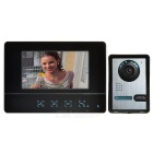 "7"" Color TFT LCD Home Security Video Door Phone Kit w/ IR Night Vision - Black + Dark Grey (EU Plug)"
