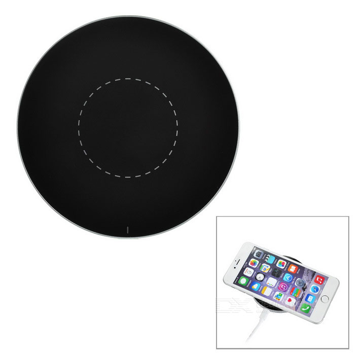 Ultrathin rodada qi wireless charger for IPHONE + mais - preto + prata