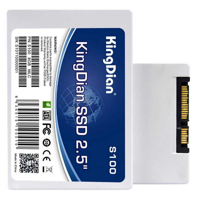 "KingDian S100 8GB Internal 2.5"" SATA 2 SSD Solid State Drive - White"