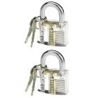 Lock Pick Skill Training Practicing Locks w/ Keys - Transparent + Silvery White (2 PCS)