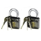 Slotted Practice Lockpick Training Padlocks w/ Keys - Black + Silver (2 PCS)