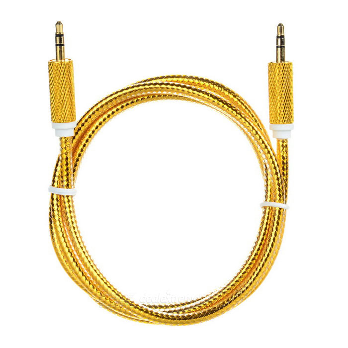 Universal 3.5mm Male to Male Audio AUX Cable - Golden (100cm)