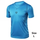 Men's Outdoor Breathable Quick-Drying Short-Sleeved T-Shirt Jersey - Blue (L)