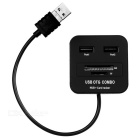 Cwxuan 2-in-1 USB 2.0 / Micro USB OTG SD / TF Card Reader + 2 x USB HUB - Black