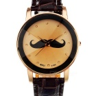 Casual Moustache Style PU Band Quartz Analog Watch - Brown (1 x AG5)