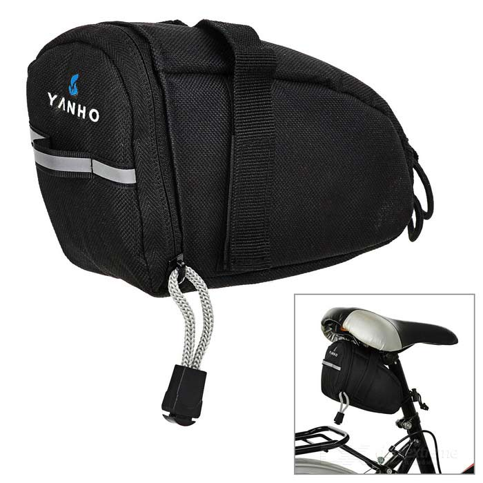 Yanho YA099 bicicleta poliéster Saddle Bag w / Reflective Strip - Preto