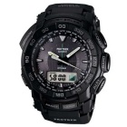 Genuine Casio Pro Trek PRG-550-1A1 Triple Sensor Analog-Digital Watch - Black