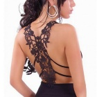Hollow Back Deep V-Neck Cotton Halter Top Camisole - Black