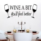 Wine A Bit Pattern Vinyl Art Wall Sticker / Kitchen Removable Decor Mural Decals - Black