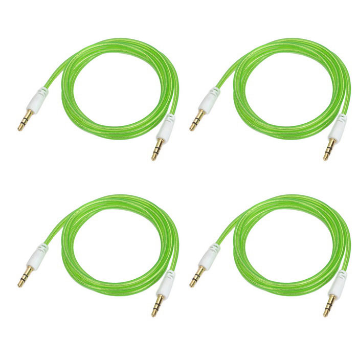 3.5mm Male to Male Audio Connection Cable - Translucent Green (4 PCS / 100cm)