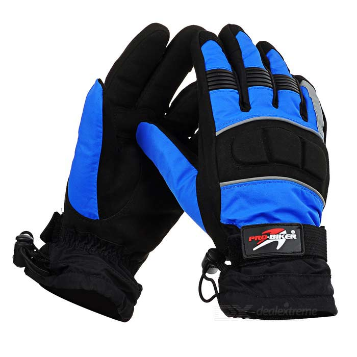 PRO-BIKER MTV07 Motorcycle Outdoor Water Resistant Warm Full-Finger Gloves - Blue (L / Pair)