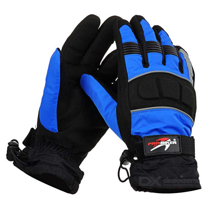 PRO-BIKER MTV07 Motorcycle Outdoor Water Resistant Warm Full-Finger Gloves - Blue (XL / Pair)