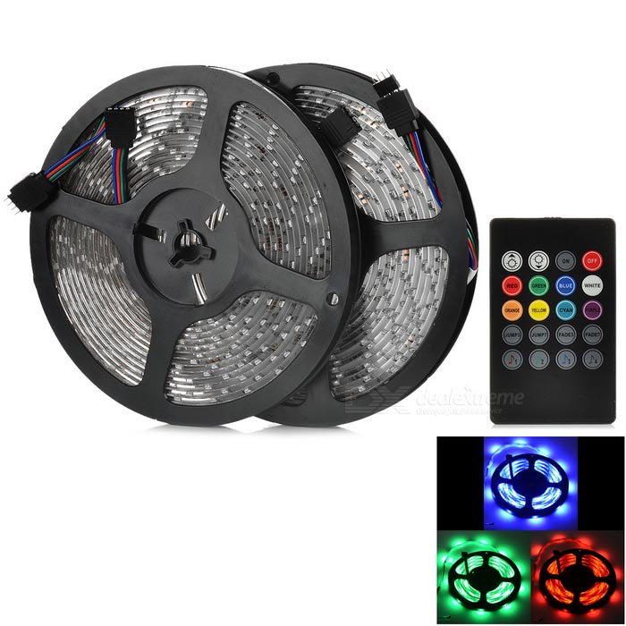 JRLED Waterproof 60W RGB LED Light Strip w/ Controller (US Plugs/2PCS)