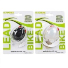 Leadbike 3-Mode Red LED Warning Bike Lights - Black + White (2PCS)