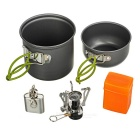 DS-101 Outdoor Camping Foldable Handle Cooking Pots + Mini Burner Stove + 1oz Flask Keychain Set