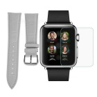 PUDINI Bamboo Pattern Watchband + Tempered Screen Protector Set for 38mm APPLE Watch - - White