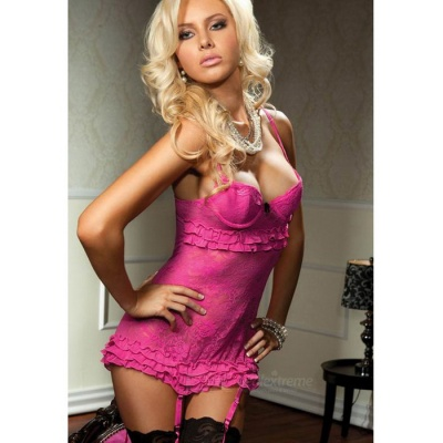Sexy Lace Backless Babydoll Suspender Lingerie - Deep Pink