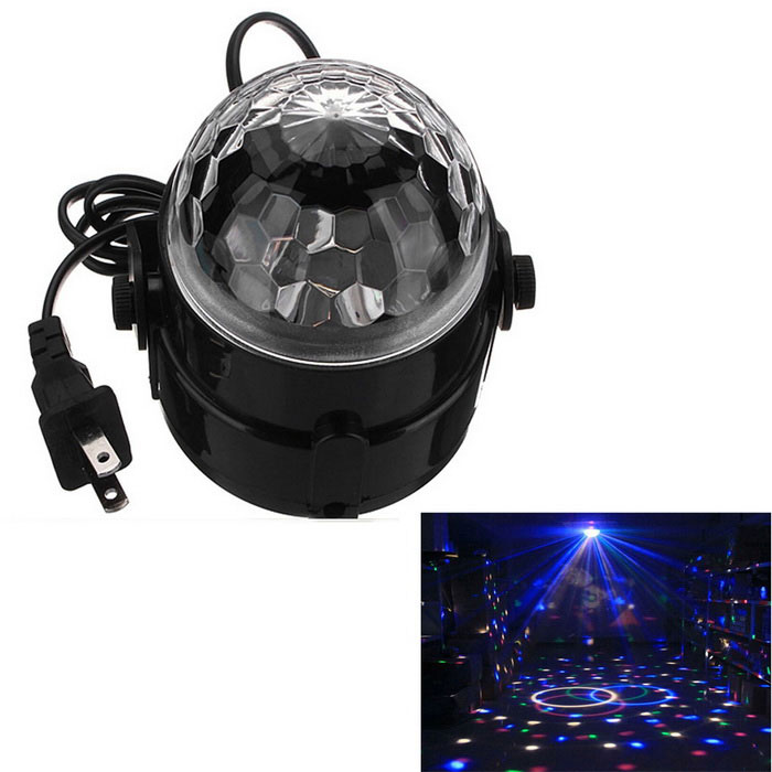 exLED 5W RGB Magic Ball Effect Voice Control Stage Light for PartyStage Lights<br>Form  ColorWhite + BlackMaterialIron + plasticQuantity1 DX.PCM.Model.AttributeModel.UnitShade Of ColorWhitePattern TypeEquivalence typeLight Scattering Angle180 degreeTotal Power5 DX.PCM.Model.AttributeModel.UnitPower AdapterUS PlugPowered ByOthersCertificationNoPacking List1 x Crystal Magic Ball DJ Light (Cable length: 6m±2cm)<br>