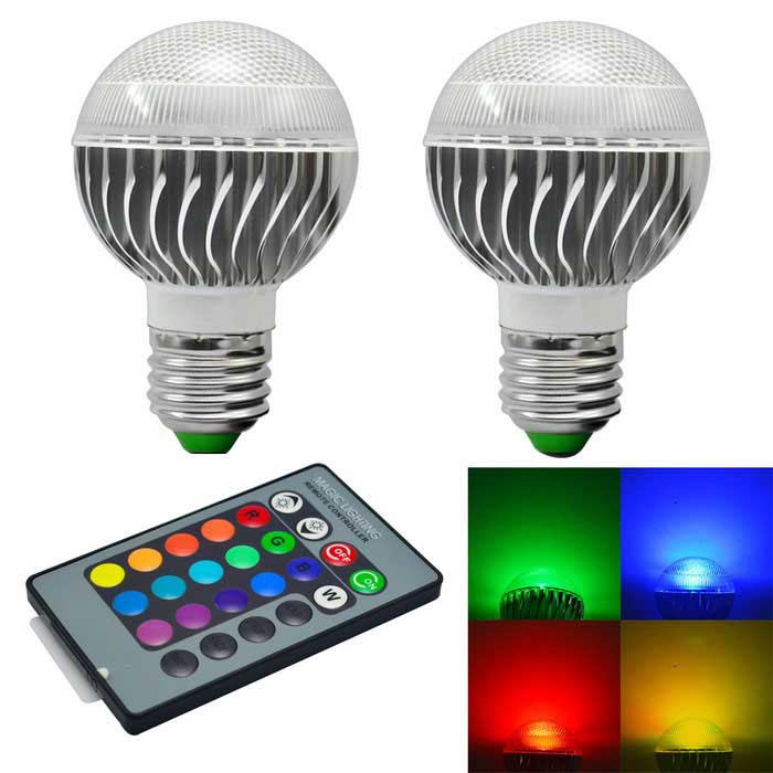 Bulbo elegante de la luz RC de 3W 240lm LED RGB regulable (ac 85-265V / 2 PC)