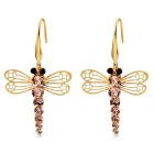 Fashionable Dragonfly Style Crystal Ear Hooks Earrings - Golden (Pair)