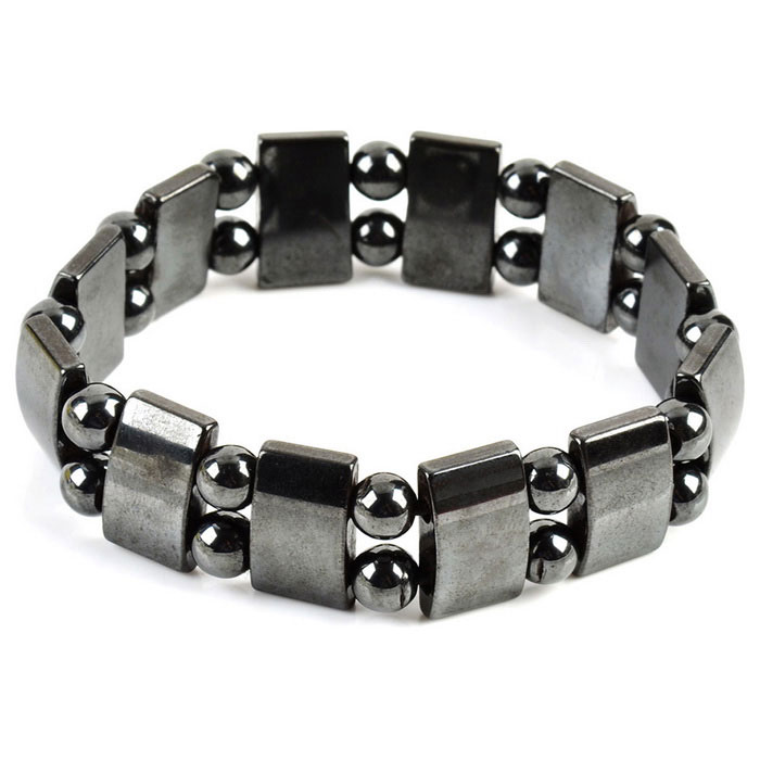 15mm Lodestone Anti-radiation Healthy Bracelet - Silvery Black