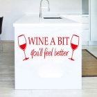 Wine A Bit Pattern PVC Removable Art Wall Sticker / Kitchen Decor Mural Decal - Red