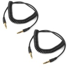 3.5mm Male to Male Audio Extender Cables - Black (2 PCS)