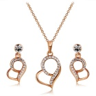 Xinguang Heart Shaped Crystal Necklace for Women - Rose Gold