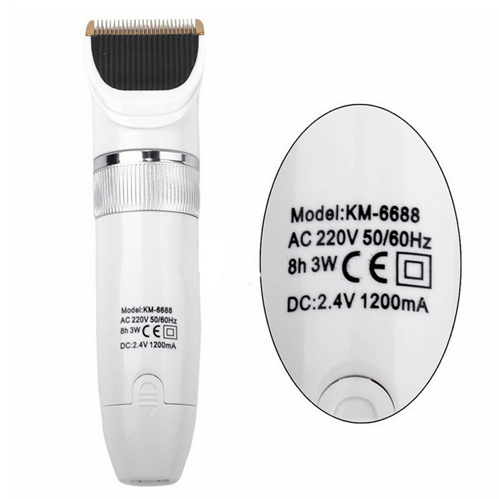 KM-6688 Waterproof Electric Ceramic Blade Hair Clipper Shaver - White