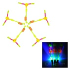 LED Light-up Flying Rotation Rubberband Slingshot Helicopter Toy - Fluorescent Yellow (5pcs)