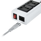 4-USB 2.0 Hub w/ 2 Universal Sockets & EU Plug Cable - White + Black